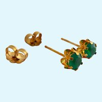 14K Gold Simulated Emerald Post Earrings Buttercup Mounts