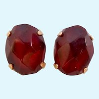 14K Gold Cherry Amber Post Earrings