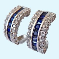 Sterling Silver 925 Sapphire & CZ Demi Hoop Post Earrings Lab Created