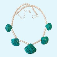 Jay King Mine Finds Cultured Pearl & Carved Turquoise Necklace Sterling 925 Clasp
