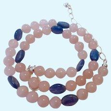Jay King Mine Finds Rose Quartz & Kyanite Necklace Sterling Silver 925 Clasp
