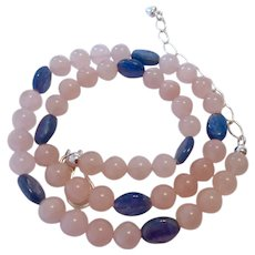 Jay King Mine Finds Rose Quartz & Kyanite Necklace Sterling Silver 925 Clasp