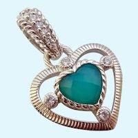 Judith Ripka Sterling Silver 925 Chalcedony & CZ Heart Pendant Enhancer
