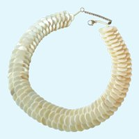 Overlapping MOP Disk Collar Necklace 925 Clasp