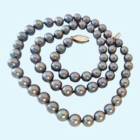 Lovely Gray/Blue Cultured Akoya Pearl Necklace Sterling Silver 925 Clasp