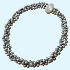 Three Strand Silver Gray Pearl Necklace Magnetic MOP Clasp