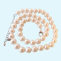 Lustrous FW 10MM Pearl Necklace Sterling 925 Clasp Hand Knotted