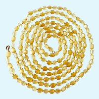 Long Yellow Glass Bead Necklace Hand Knotted 67 Inches