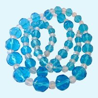 Graduated Blue and Clear Faceted Glass Bead Necklace