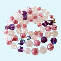 Vintage Glass Bead Necklace Pink Givre, AB Purple, Frosted White