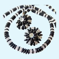 Vintage Laguna Black Clear Glass Bead Necklace Clip Earrings Set