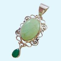 Sterling Silver 925 Green Opal & Emerald Pendant