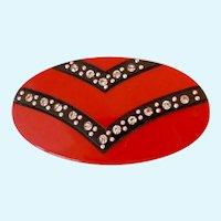 Red Black Plastic Rhinestone Chevron Design Pin Brooch