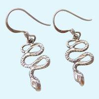Sterling Silver 925 Snake Dangle Earrings