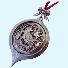 Partridge in a Pear Tree Spinning Ornament Pewter Port by Danforth