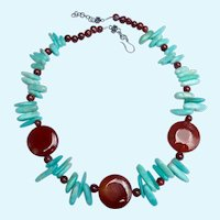 Sterling Silver 925 Carnelian & Blue Gemstone Necklace