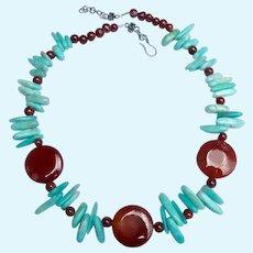 Sterling Silver 925 Carnelian & Blue Gemstone Necklace