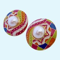 Huge Guy Laroche Multi-Color Enamel & Faux Pearl Clip Earrings 1960-70's