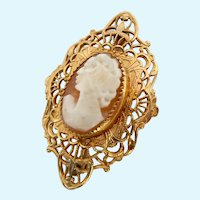 Small 14K Gold Filled Shell Cameo Pin Brooch