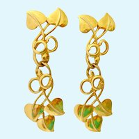 Long Articulated  Leaf & Vine Gold Tone Post Earrings