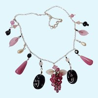 Vintage Sterling Silver 925 Necklace Glass Charm Dangles Pink Black White