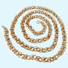 Trifari Gold Tone Wire Work Necklace Interesting Design 30 Inches