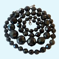 Long Graduated Black Glass Bead Necklace Hand Knotted Faceted 38 Inches