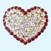 Agatha Paris Large Heart Brooch Red Clear Rhinestones