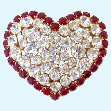 Agatha Paris Large Heart Brooch Red Clear Rhinestones