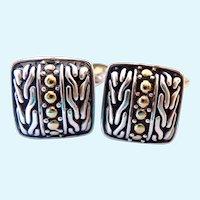 John Hardy Sterling & 18K Gold Cuff Links Cufflinks Original Box