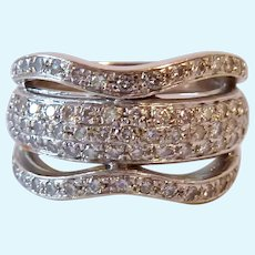 Stunning 18K White Gold Paved Diamond Band Ring 9.0 Grams