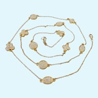 Pretty Gold Tone Necklace with Sparkly Paved Stations Multi-Shapes