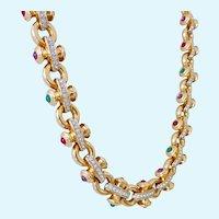 Impressive Swarovski Necklace Choker Clear and Jewel Tone Crystals