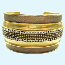 Silpada Wide KR Cuff Bracelet Brass Leather Crystals