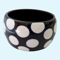 Chunky Wide Bangle Bracelet White on Black Polka Dots