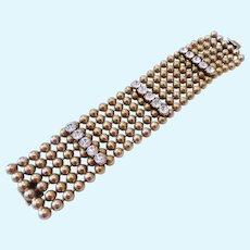 Wide Bold Machine Age Bracelet with Rhinestones