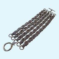 Wide Toggle Bracelet Gunmetal with Rhinestones