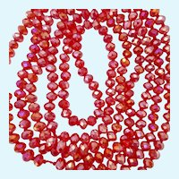 Amazing 80 Inch Red Glass Bead Necklace Hand Knotted