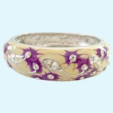 Jackie Kennedy JBK Cream Purple Enamel Bracelet Crystals Camrose & Kross