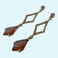 Fun Dangle Post Earrings Golden Amber Rhinestones
