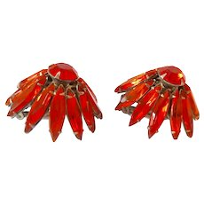 Judy Lee 3-D Orange Rhinestone Flower Clip Earrings