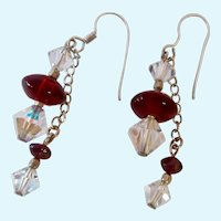 Sterling Silver 925 Wire Earrings with Red & Clear Crystal Dangles