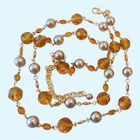 Long Joan Rivers Necklace Amber Color Crystals & Faux Pearls