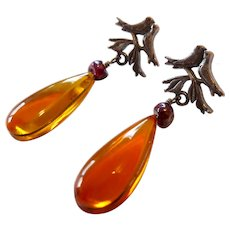 Sterling Silver 925 Amber Garnet Bird Motif Earrings Citlali