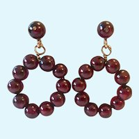 14K Gold Garnet Post Earrings