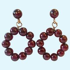 14K Gold Garnet Post Earrings