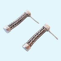 Sterling Silver 925 Foxtail Chain Dangle Post Earrings
