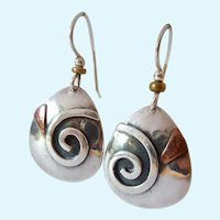 Sterling Silver 925  Dangle Earrings Spiral Design Copper Accent Signed