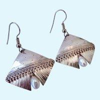 Sterling Silver 925 Cultured Pearl Artist Signed Nels Nelson Dangle Earrings