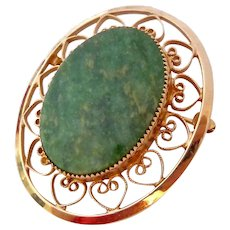12K Gold Filled Green Stone Brooch Signed Catamore